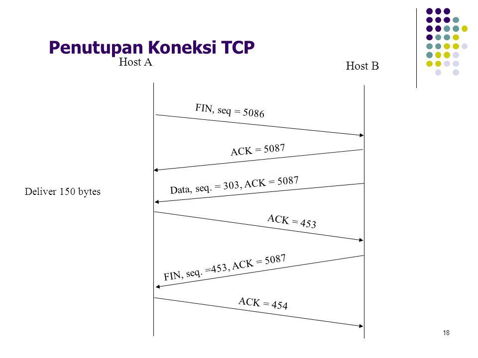 18 Penutupan Koneksi TCP FIN, seq = 5086 ACK = 5087 Data, seq. = 303, ACK = 5087 Deliver 150 bytes FIN, seq. =453, ACK = 5087 ACK = 454 Host A Host B