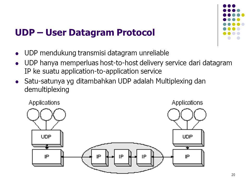 20 UDP – User Datagram Protocol UDP mendukung transmisi datagram unreliable UDP hanya memperluas host-to-host delivery service dari datagram IP ke sua