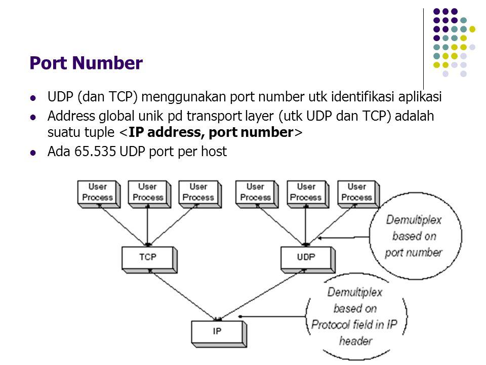 22 Port Number UDP (dan TCP) menggunakan port number utk identifikasi aplikasi Address global unik pd transport layer (utk UDP dan TCP) adalah suatu t