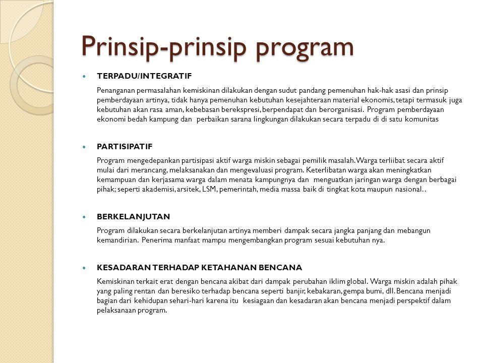 Prinsip-prinsip program TERPADU/INTEGRATIF Penanganan permasalahan kemiskinan dilakukan dengan sudut pandang pemenuhan hak-hak asasi dan prinsip pembe