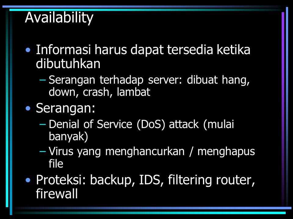 Availability Informasi harus dapat tersedia ketika dibutuhkan –Serangan terhadap server: dibuat hang, down, crash, lambat Serangan: –Denial of Service