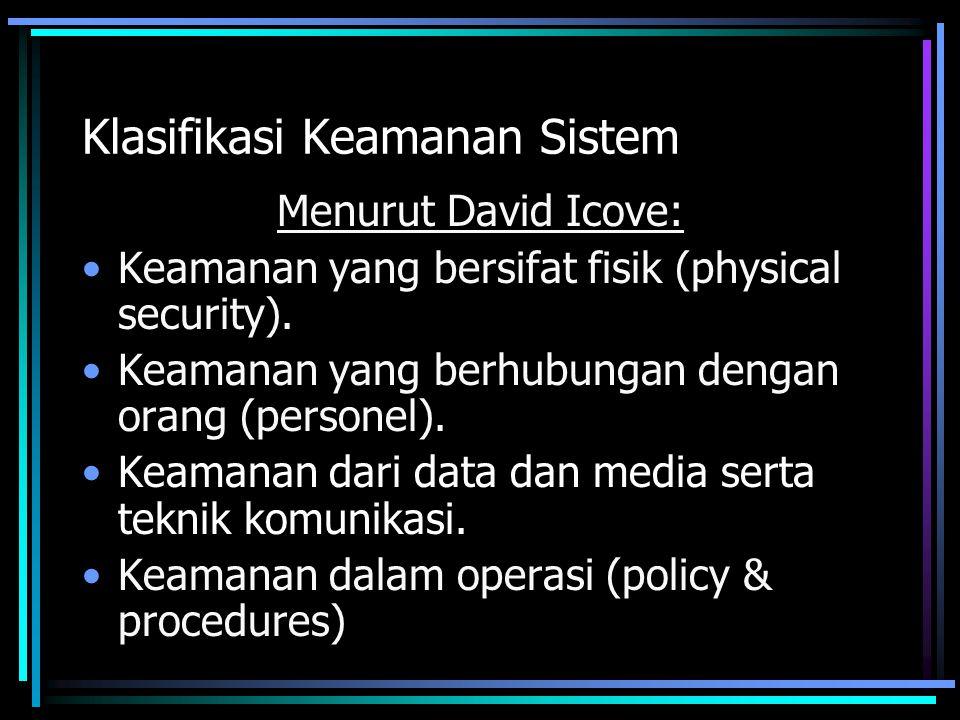 Availability Informasi harus dapat tersedia ketika dibutuhkan –Serangan terhadap server: dibuat hang, down, crash, lambat Serangan: –Denial of Service (DoS) attack (mulai banyak) –Virus yang menghancurkan / menghapus file Proteksi: backup, IDS, filtering router, firewall