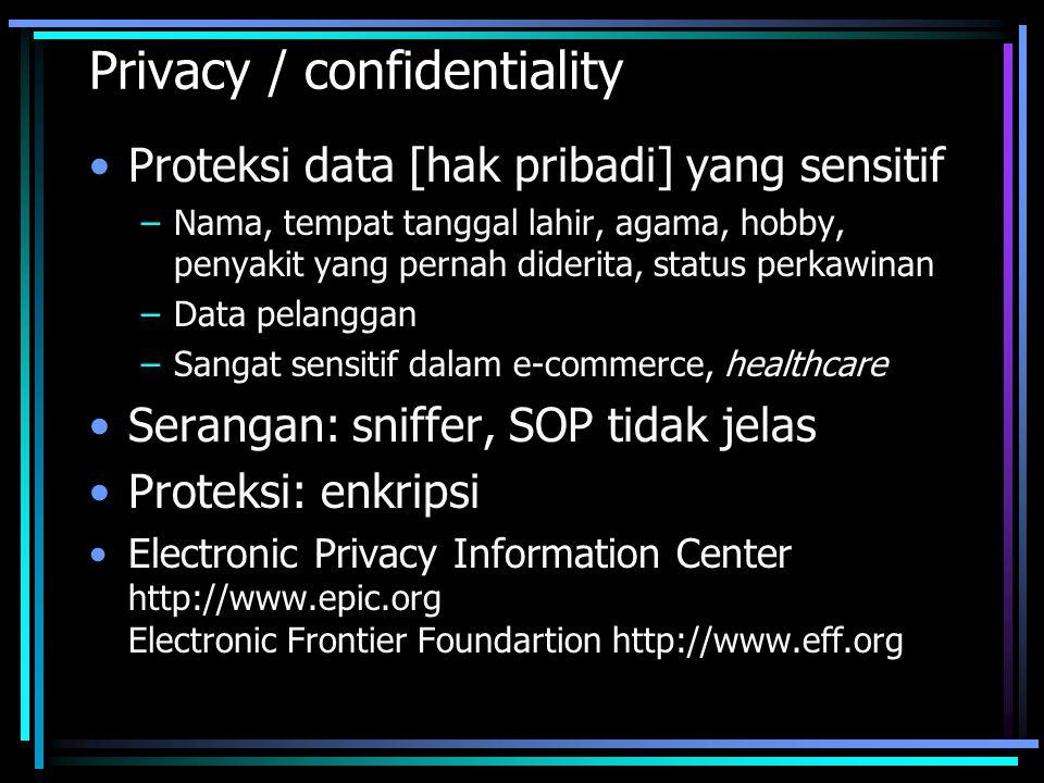 Privacy / confidentiality Proteksi data [hak pribadi] yang sensitif –Nama, tempat tanggal lahir, agama, hobby, penyakit yang pernah diderita, status p