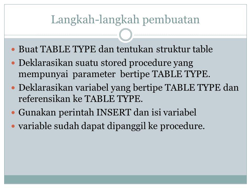 Langkah-langkah pembuatan Buat TABLE TYPE dan tentukan struktur table Deklarasikan suatu stored procedure yang mempunyai parameter bertipe TABLE TYPE.