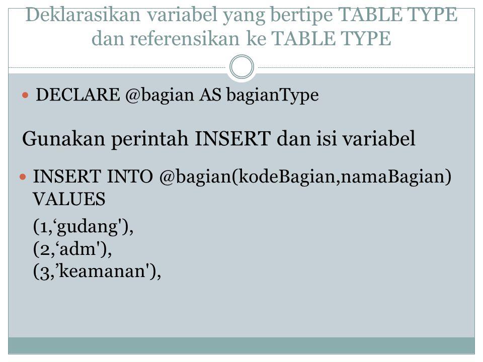 Deklarasikan variabel yang bertipe TABLE TYPE dan referensikan ke TABLE TYPE DECLARE @bagian AS bagianType INSERT INTO @bagian(kodeBagian,namaBagian) VALUES (1,'gudang ), (2,'adm ), (3,'keamanan ), Gunakan perintah INSERT dan isi variabel