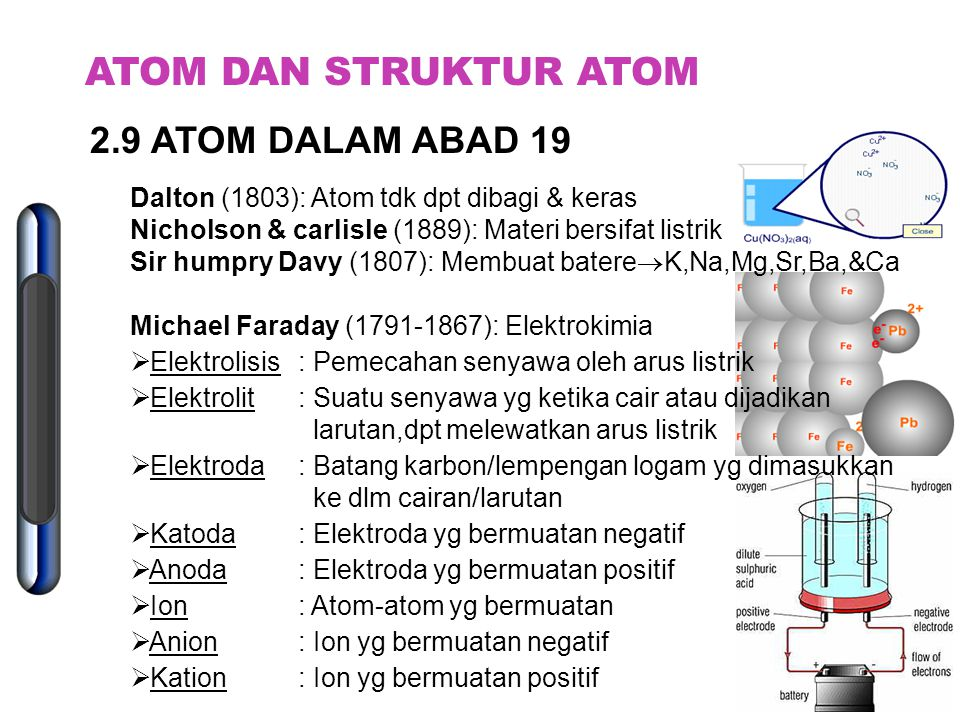 Mengapa struktur atom dipelajari? 1. Penyusunan bagian-bagian atom akan menentukan sifat materi 2. Mengetahui bgm atom bergabung, & bgm mengubah bhn s