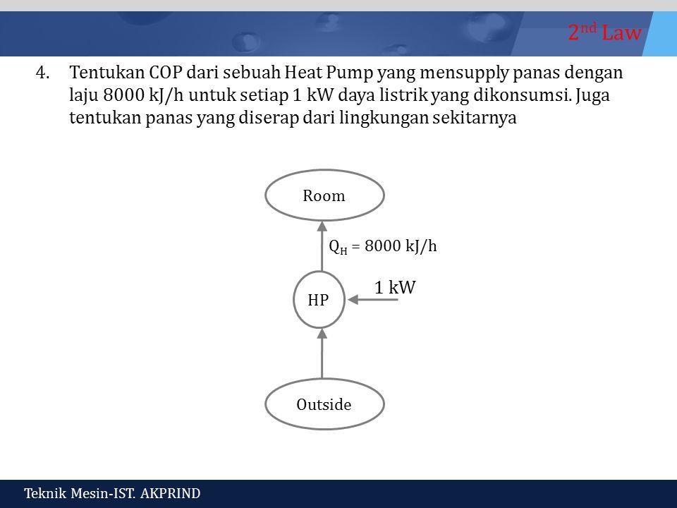 2 nd Law Teknik Mesin-IST. AKPRIND 4.Tentukan COP dari sebuah Heat Pump yang mensupply panas dengan laju 8000 kJ/h untuk setiap 1 kW daya listrik yang