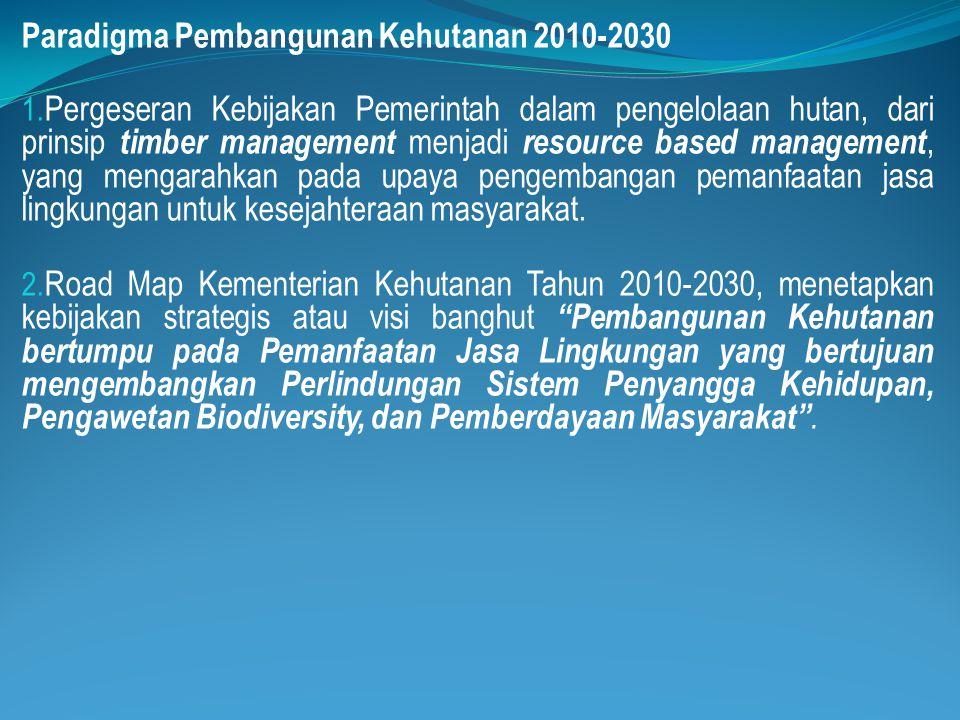 Paradigma Pembangunan Kehutanan 2010-2030 1. Pergeseran Kebijakan Pemerintah dalam pengelolaan hutan, dari prinsip timber management menjadi resource