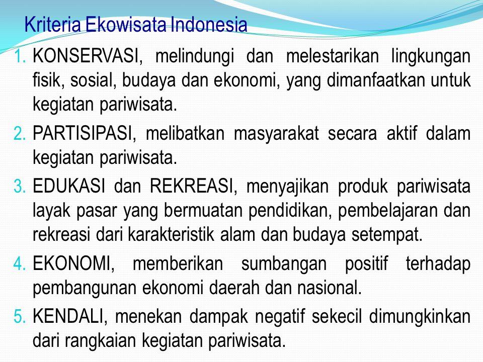 Kriteria Ekowisata Indonesia 1. KONSERVASI, melindungi dan melestarikan lingkungan fisik, sosial, budaya dan ekonomi, yang dimanfaatkan untuk kegiatan