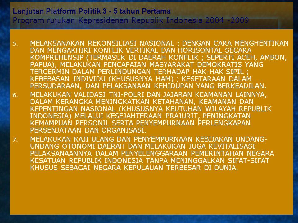 Platform Politik 3 - 5 tahun Pertama Program rujukan Kepresidenan Republik Indonesia 2004 -2009 1. STABILISASI KEAMANAN DAN KETERTIBAN 2. NORMALISASI