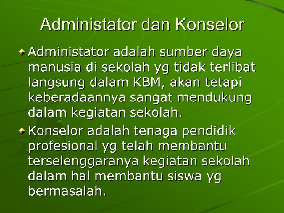 Administator dan Konselor Administator adalah sumber daya manusia di sekolah yg tidak terlibat langsung dalam KBM, akan tetapi keberadaannya sangat mendukung dalam kegiatan sekolah.