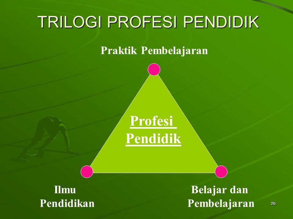 26 Ilmu Pendidikan Belajar dan Pembelajaran Praktik Pembelajaran Profesi Pendidik TRILOGI PROFESI PENDIDIK