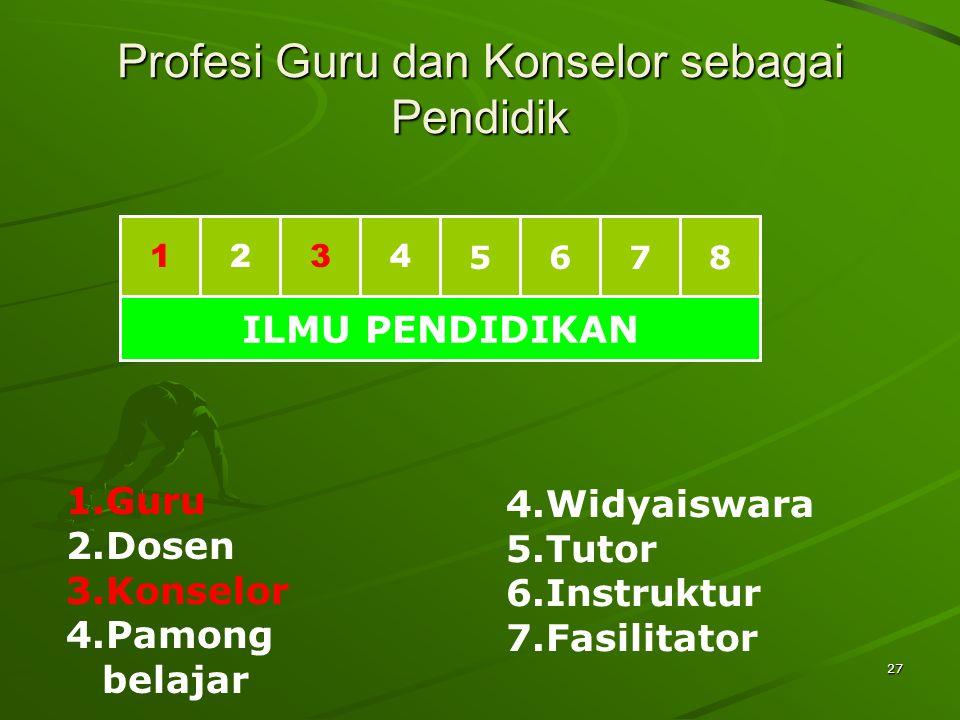 27 Profesi Guru dan Konselor sebagai Pendidik 1234 5678 ILMU PENDIDIKAN 1.Guru 2.Dosen 3.Konselor 4.Pamong belajar 4.Widyaiswara 5.Tutor 6.Instruktur 7.Fasilitator