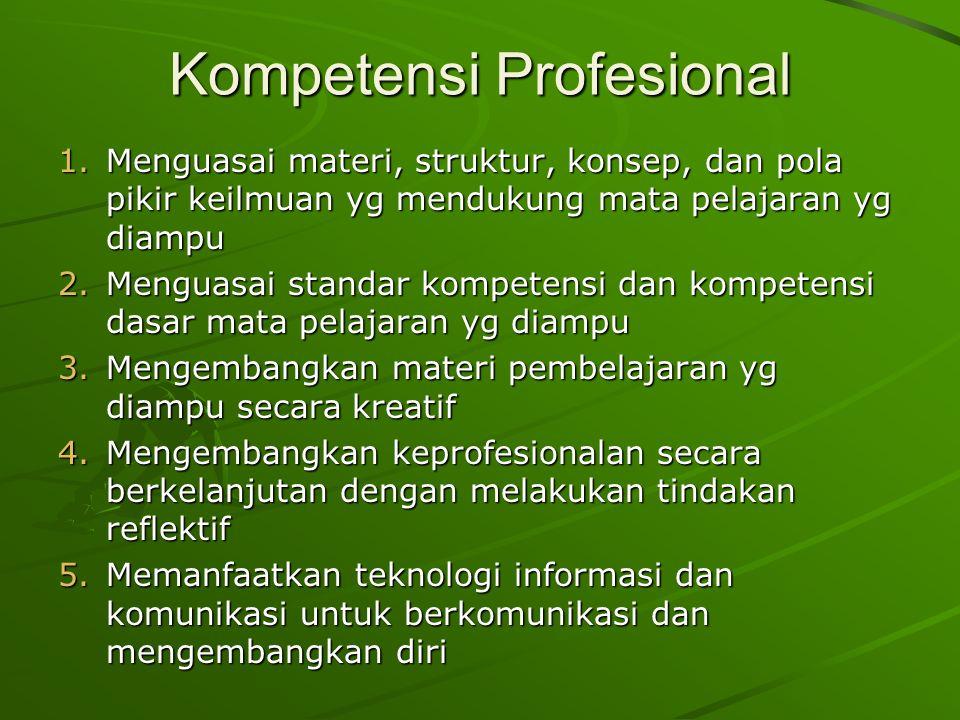 Kompetensi Profesional 1.Menguasai materi, struktur, konsep, dan pola pikir keilmuan yg mendukung mata pelajaran yg diampu 2.Menguasai standar kompetensi dan kompetensi dasar mata pelajaran yg diampu 3.Mengembangkan materi pembelajaran yg diampu secara kreatif 4.Mengembangkan keprofesionalan secara berkelanjutan dengan melakukan tindakan reflektif 5.Memanfaatkan teknologi informasi dan komunikasi untuk berkomunikasi dan mengembangkan diri