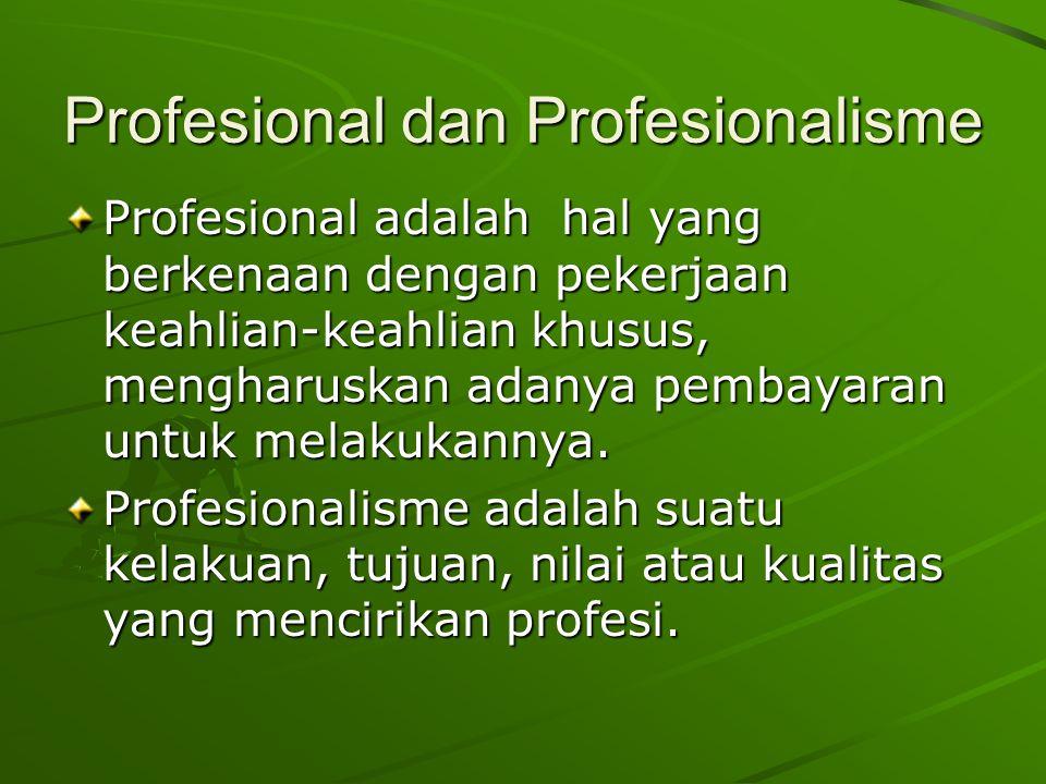 Profesional dan Profesionalisme Profesional adalah hal yang berkenaan dengan pekerjaan keahlian-keahlian khusus, mengharuskan adanya pembayaran untuk melakukannya.