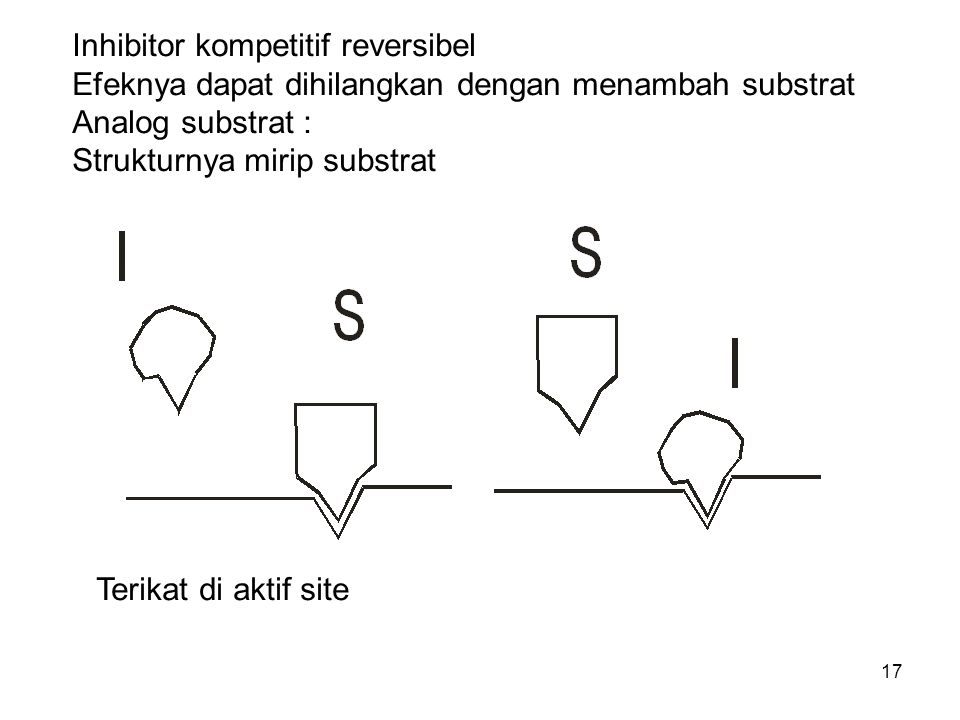 17 Inhibitor kompetitif reversibel Efeknya dapat dihilangkan dengan menambah substrat Analog substrat : Strukturnya mirip substrat Terikat di aktif si