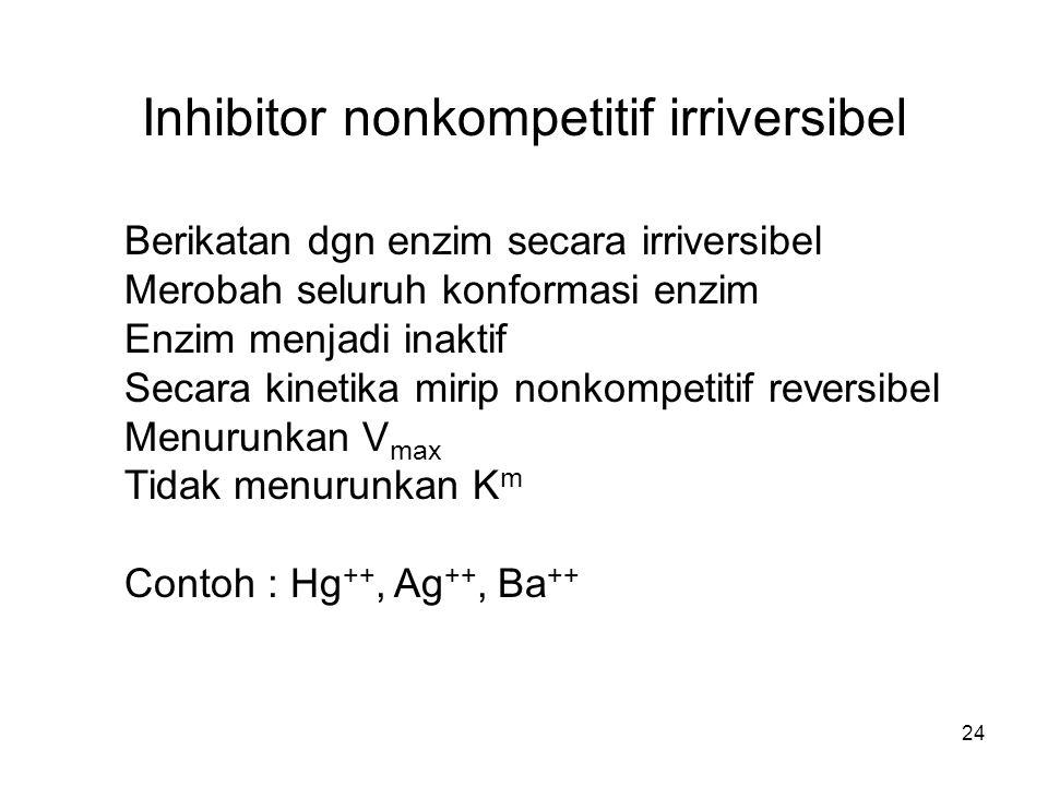 24 Inhibitor nonkompetitif irriversibel Berikatan dgn enzim secara irriversibel Merobah seluruh konformasi enzim Enzim menjadi inaktif Secara kinetika