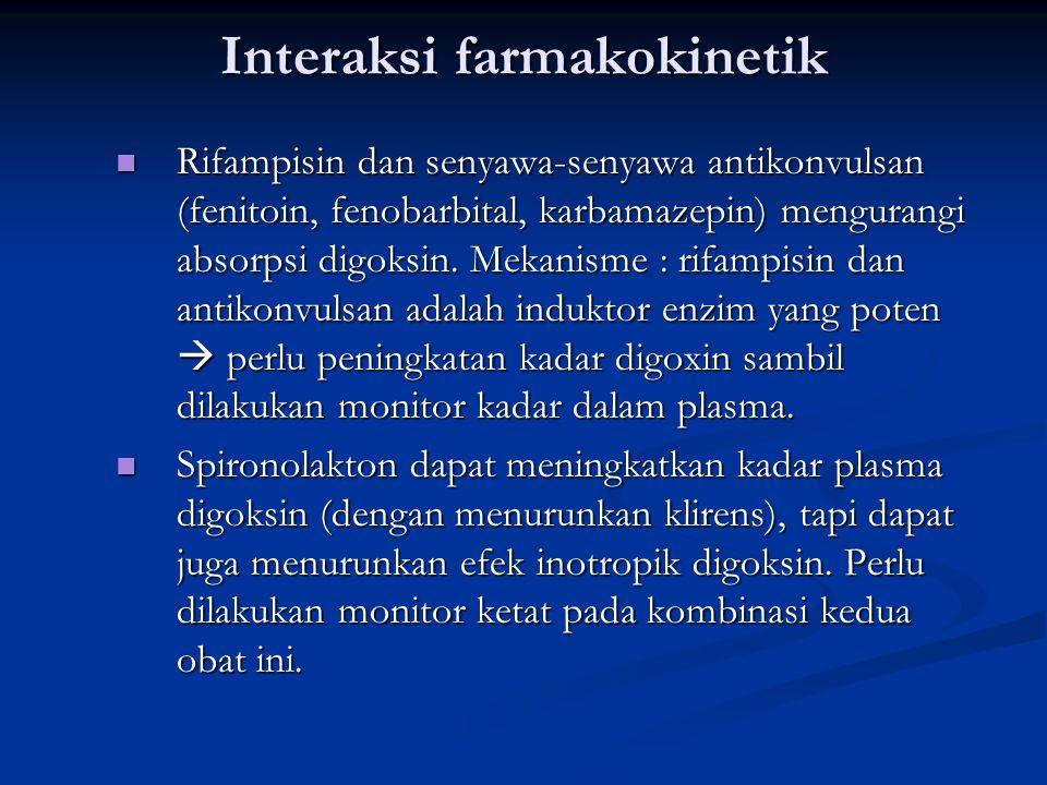 Interaksi farmakokinetik Rifampisin dan senyawa-senyawa antikonvulsan (fenitoin, fenobarbital, karbamazepin) mengurangi absorpsi digoksin.