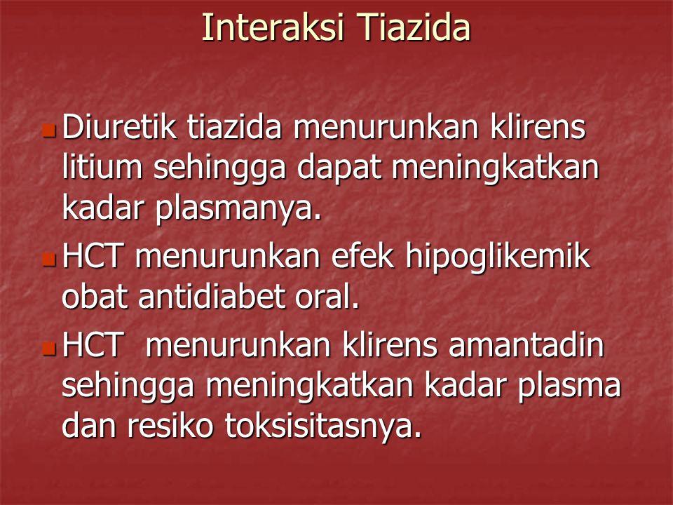 Interaksi Tiazida Diuretik tiazida menurunkan klirens litium sehingga dapat meningkatkan kadar plasmanya. Diuretik tiazida menurunkan klirens litium s