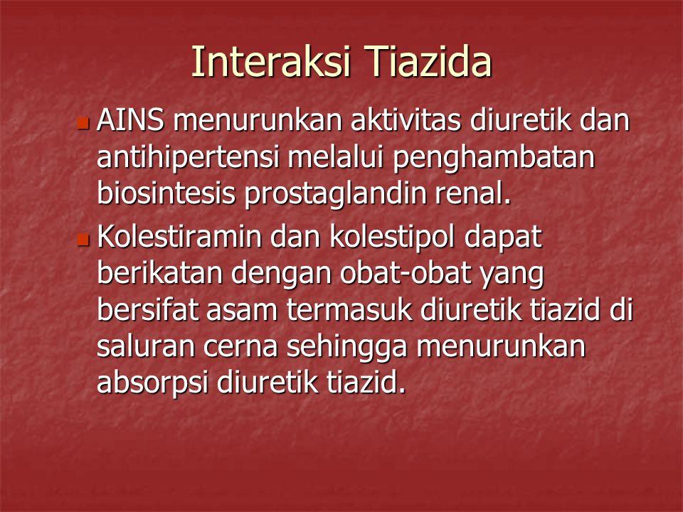 Interaksi Tiazida AINS menurunkan aktivitas diuretik dan antihipertensi melalui penghambatan biosintesis prostaglandin renal. AINS menurunkan aktivita