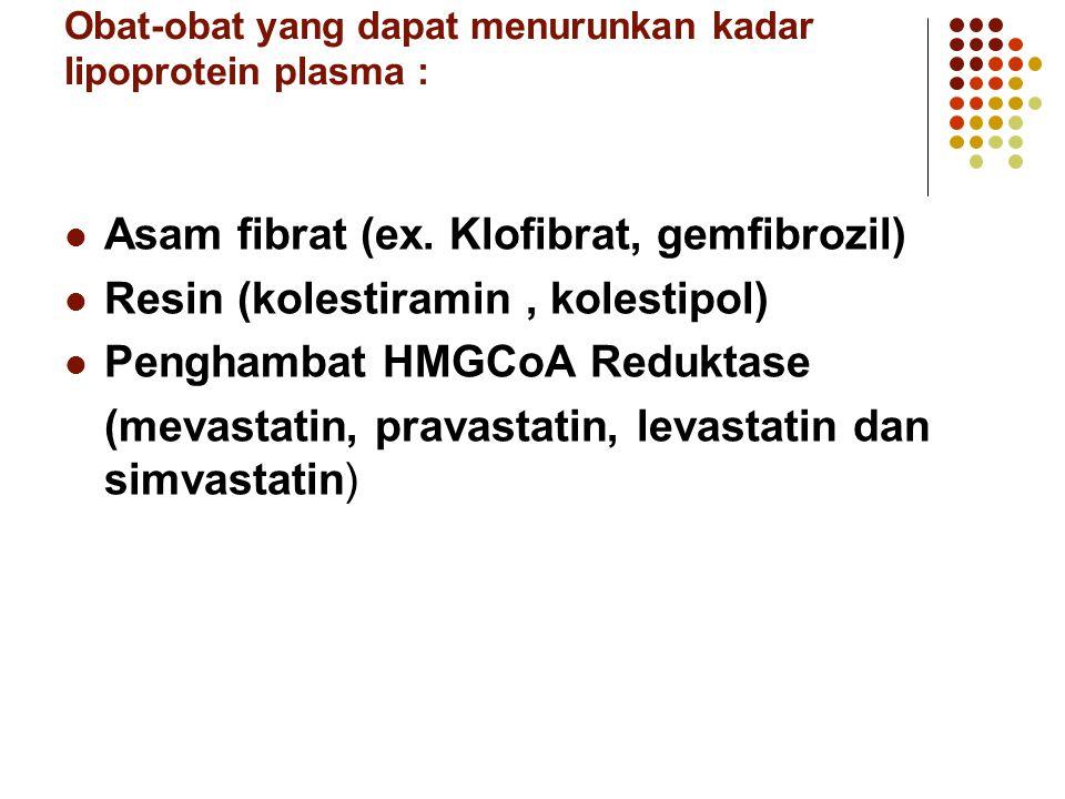 Obat-obat yang dapat menurunkan kadar lipoprotein plasma : Asam fibrat (ex. Klofibrat, gemfibrozil) Resin (kolestiramin, kolestipol) Penghambat HMGCoA