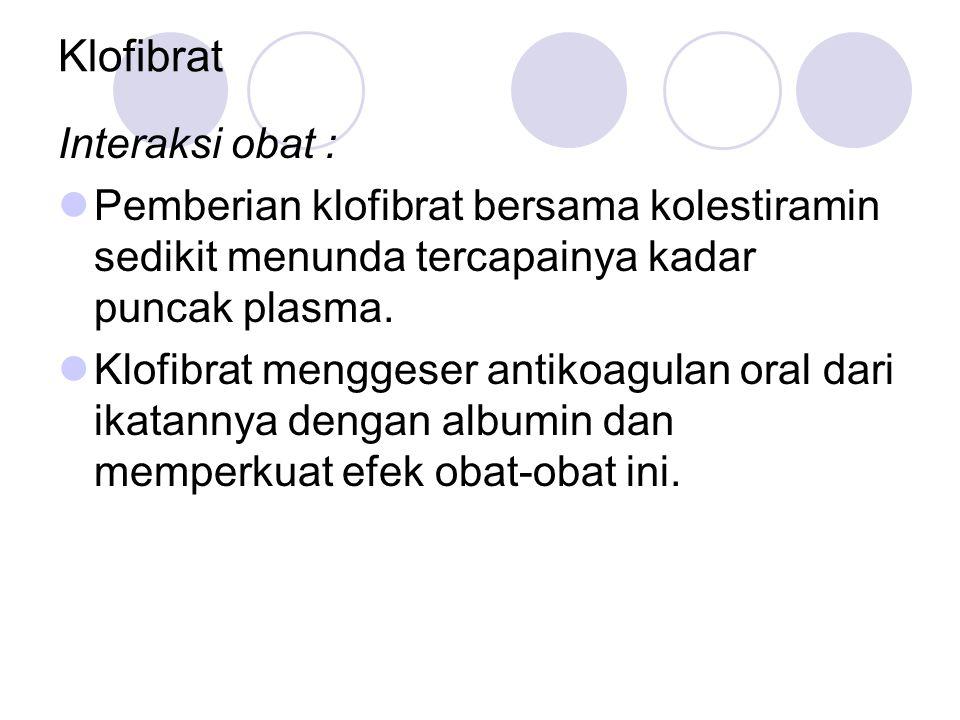 Klofibrat Interaksi obat : Pemberian klofibrat bersama kolestiramin sedikit menunda tercapainya kadar puncak plasma. Klofibrat menggeser antikoagulan