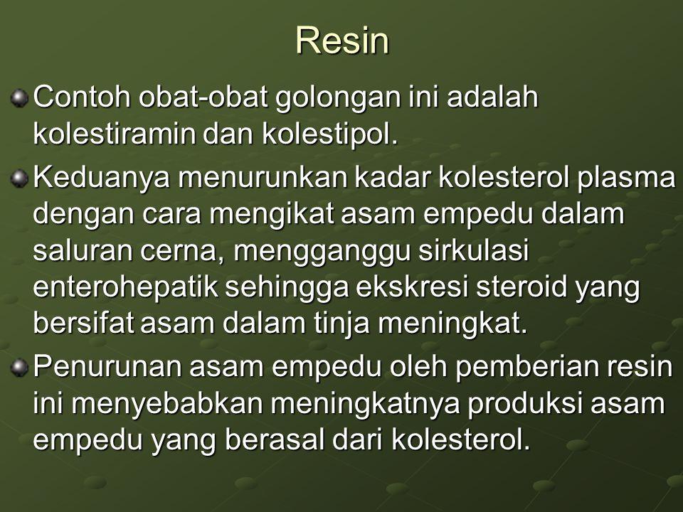 Resin Contoh obat-obat golongan ini adalah kolestiramin dan kolestipol. Keduanya menurunkan kadar kolesterol plasma dengan cara mengikat asam empedu d