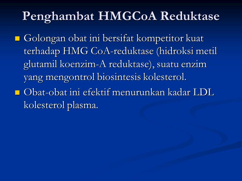Penghambat HMGCoA Reduktase Golongan obat ini bersifat kompetitor kuat terhadap HMG CoA-reduktase (hidroksi metil glutamil koenzim-A reduktase), suatu enzim yang mengontrol biosintesis kolesterol.