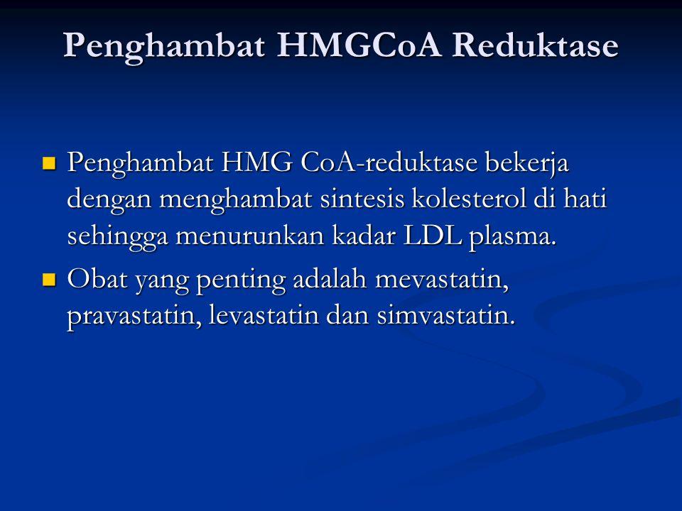 Penghambat HMGCoA Reduktase Penghambat HMG CoA-reduktase bekerja dengan menghambat sintesis kolesterol di hati sehingga menurunkan kadar LDL plasma.