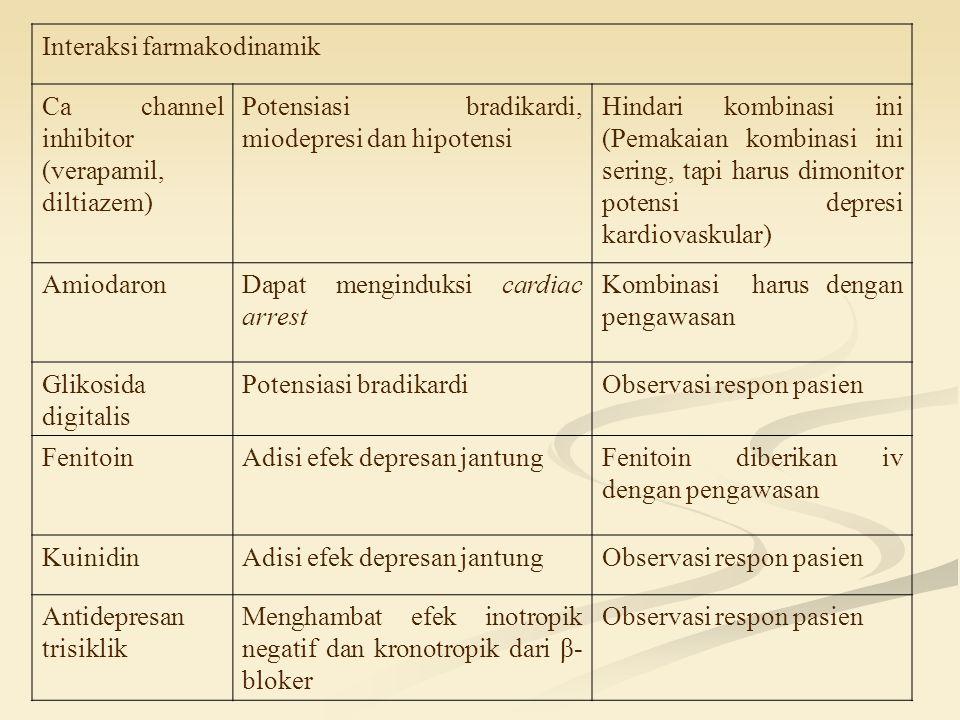 Interaksi farmakodinamik Ca channel inhibitor (verapamil, diltiazem) Potensiasi bradikardi, miodepresi dan hipotensi Hindari kombinasi ini (Pemakaian