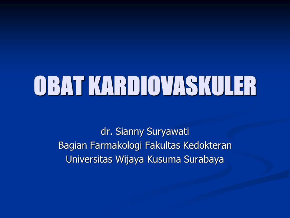 OBAT KARDIOVASKULER dr. Sianny Suryawati Bagian Farmakologi Fakultas Kedokteran Universitas Wijaya Kusuma Surabaya