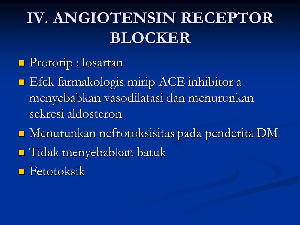 IV. ANGIOTENSIN RECEPTOR BLOCKER Prototip : losartan Prototip : losartan Efek farmakologis mirip ACE inhibitor a menyebabkan vasodilatasi dan menurunk