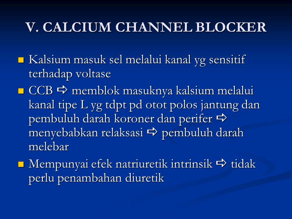 V. CALCIUM CHANNEL BLOCKER Kalsium masuk sel melalui kanal yg sensitif terhadap voltase Kalsium masuk sel melalui kanal yg sensitif terhadap voltase C