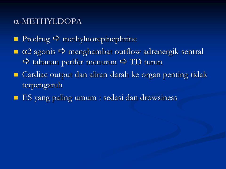  -METHYLDOPA Prodrug  methylnorepinephrine Prodrug  methylnorepinephrine  2 agonis  menghambat outflow adrenergik sentral  tahanan perifer menur