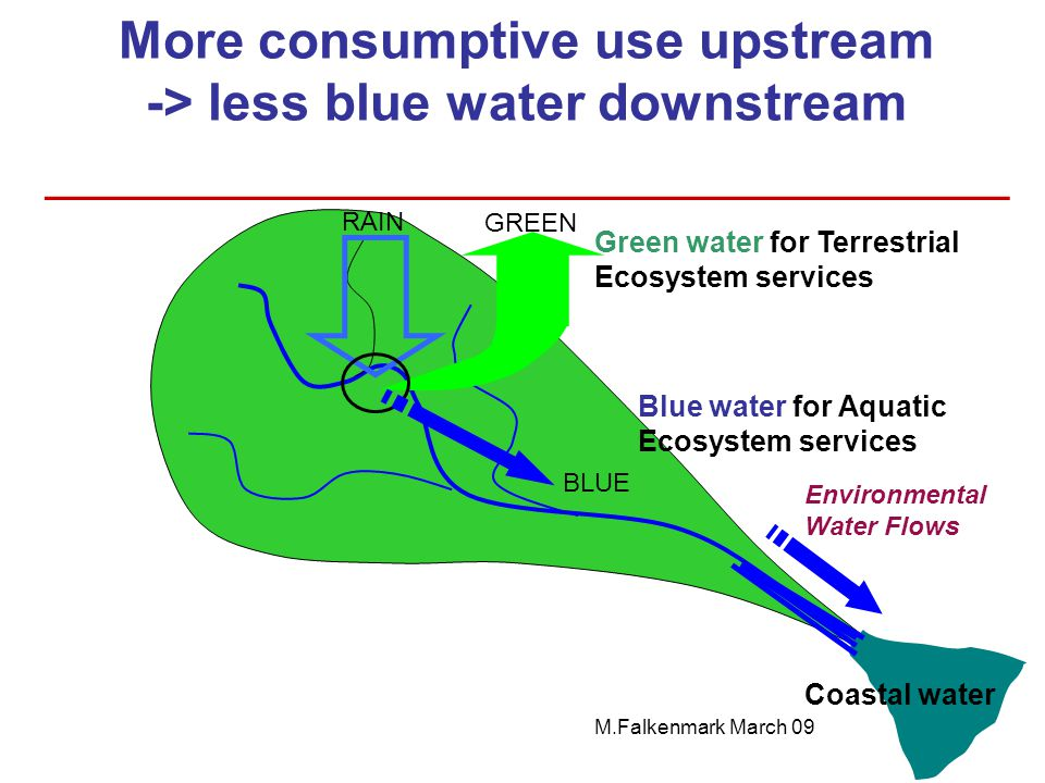 More consumptive use upstream -> less blue water downstream ______________________________ Environmental Water Flows Green water for Terrestrial Ecosy