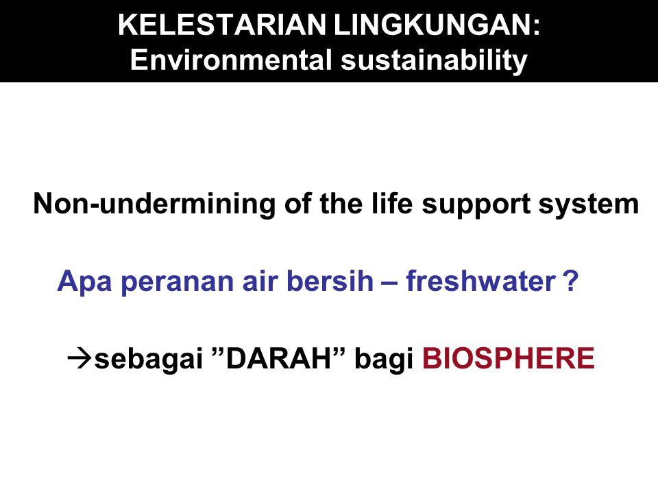 Air : Inti dari sistem penunjang kehidupan Air = Denominator Umum * bloodstream of the biosphere * life elexir for human society