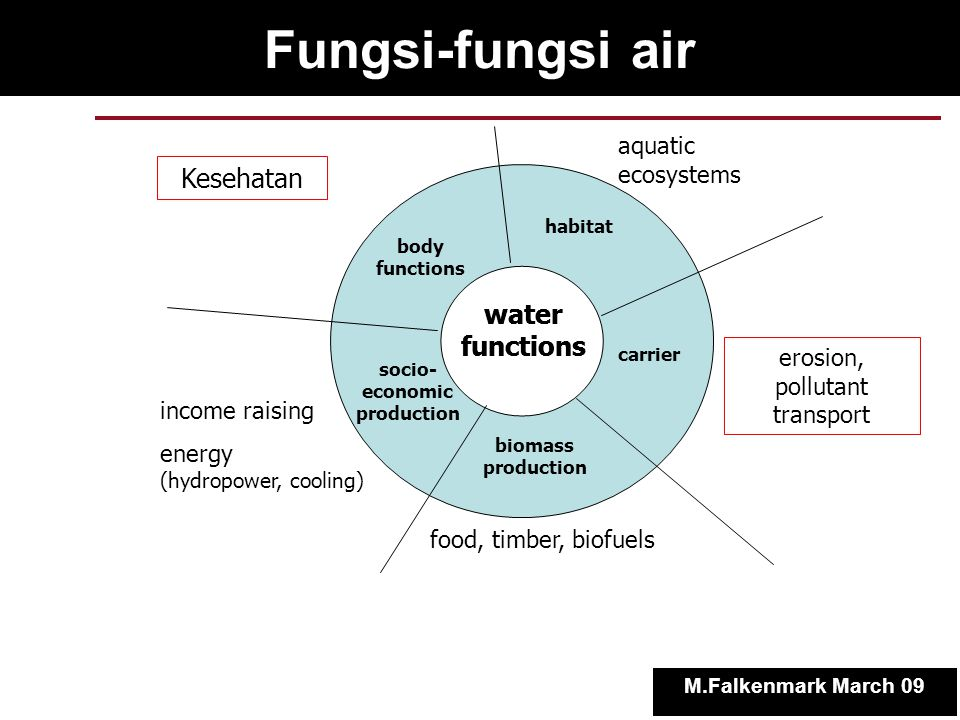 Banyak air yang hilang untuk panen di Lahan Kering Out of crop water required : only 90 % as rain * only 60 % infiltrates * only 40 % stays in root zone * only 1/3 of that taken up by roots * rest evaporates Blue water generation Infiltrated and percolated gregre g greegree iiniin Stored in root zone M.Falkenmark March 09