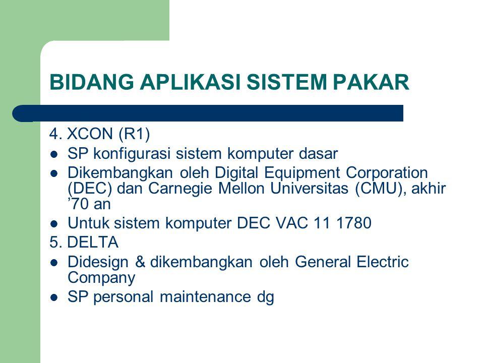 BIDANG APLIKASI SISTEM PAKAR 4. XCON (R1) SP konfigurasi sistem komputer dasar Dikembangkan oleh Digital Equipment Corporation (DEC) dan Carnegie Mell