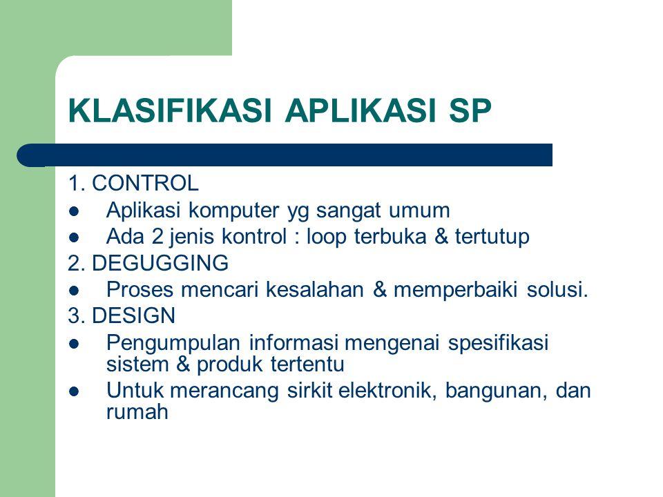 KLASIFIKASI APLIKASI SP 1. CONTROL Aplikasi komputer yg sangat umum Ada 2 jenis kontrol : loop terbuka & tertutup 2. DEGUGGING Proses mencari kesalaha