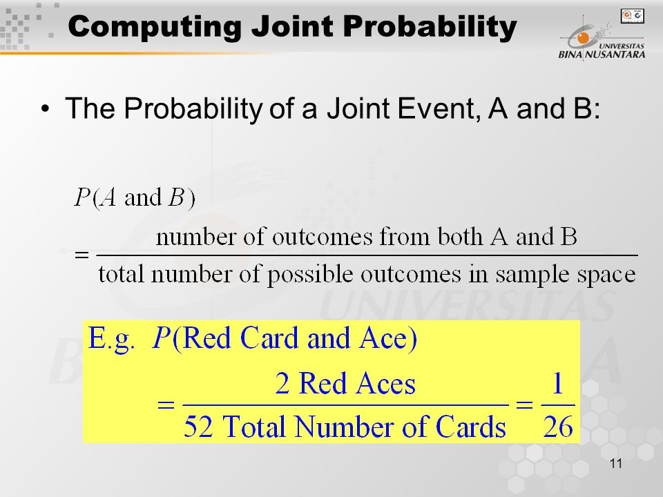 11 Computing Joint Probability The Probability of a Joint Event, A and B: