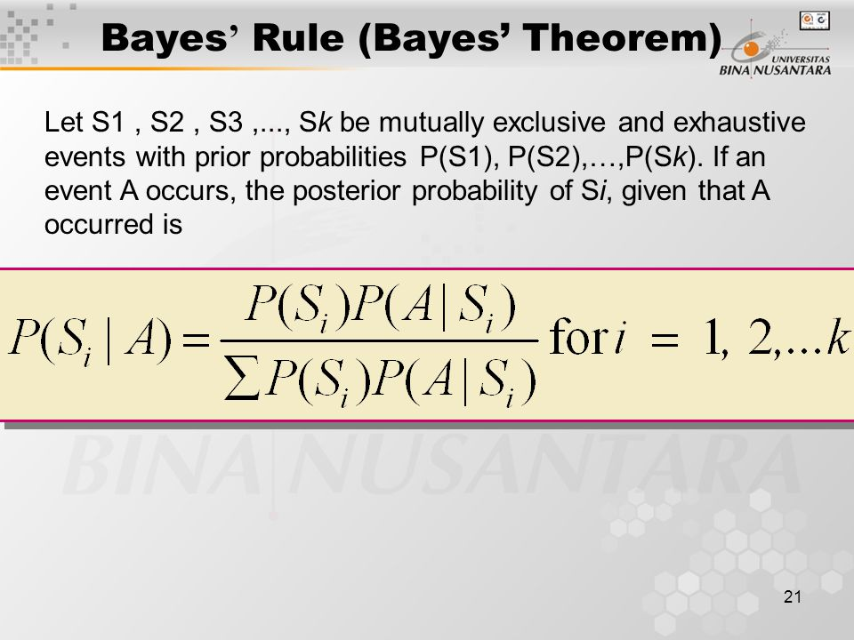 21 Bayes ' Rule (Bayes' Theorem) Let S1, S2, S3,..., Sk be mutually exclusive and exhaustive events with prior probabilities P(S1), P(S2),…,P(Sk). If
