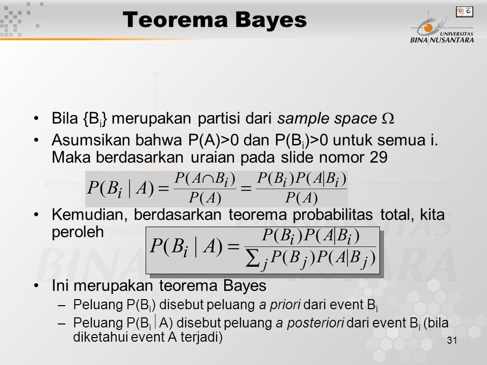 31 Teorema Bayes Bila {B i } merupakan partisi dari sample space  Asumsikan bahwa P(A)>0 dan P(B i )>0 untuk semua i.