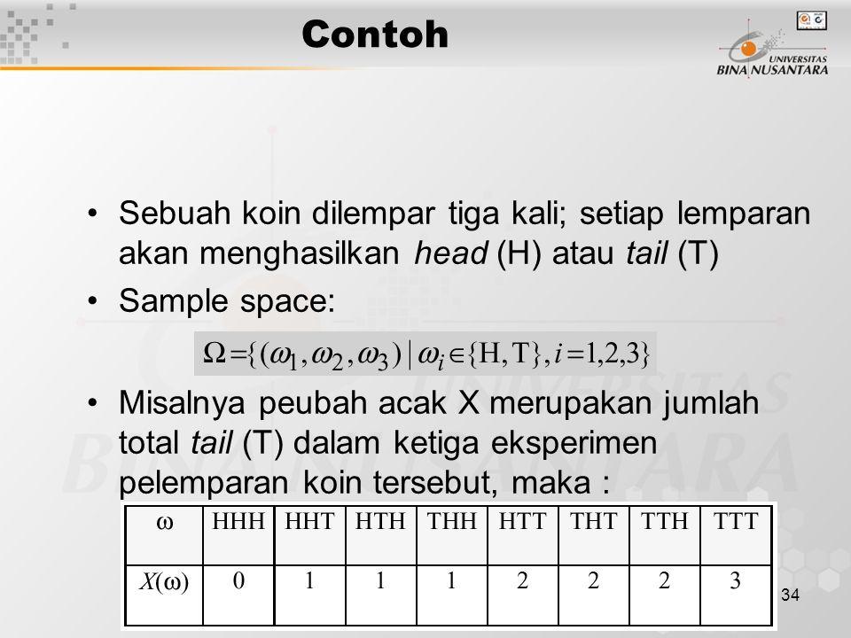 34 Sebuah koin dilempar tiga kali; setiap lemparan akan menghasilkan head (H) atau tail (T) Sample space: Misalnya peubah acak X merupakan jumlah total tail (T) dalam ketiga eksperimen pelemparan koin tersebut, maka : Contoh