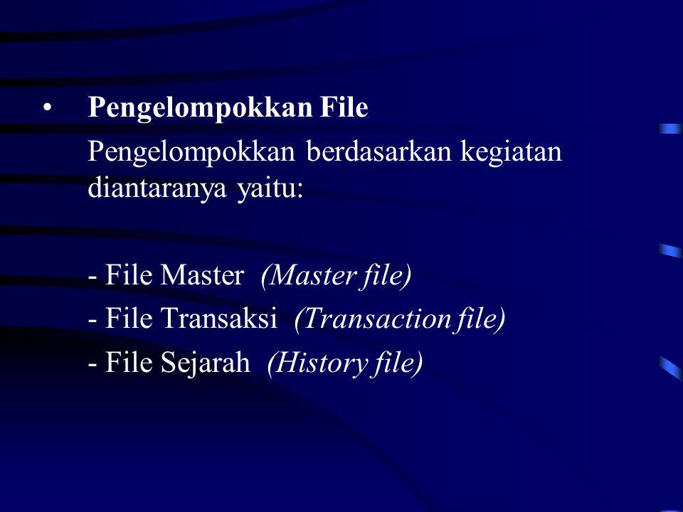 Pengelompokkan File Pengelompokkan berdasarkan kegiatan diantaranya yaitu: - File Master (Master file) - File Transaksi (Transaction file) - File Sejarah (History file)