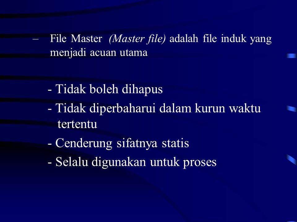 –File Master (Master file) adalah file induk yang menjadi acuan utama - Tidak boleh dihapus - Tidak diperbaharui dalam kurun waktu tertentu - Cenderung sifatnya statis - Selalu digunakan untuk proses