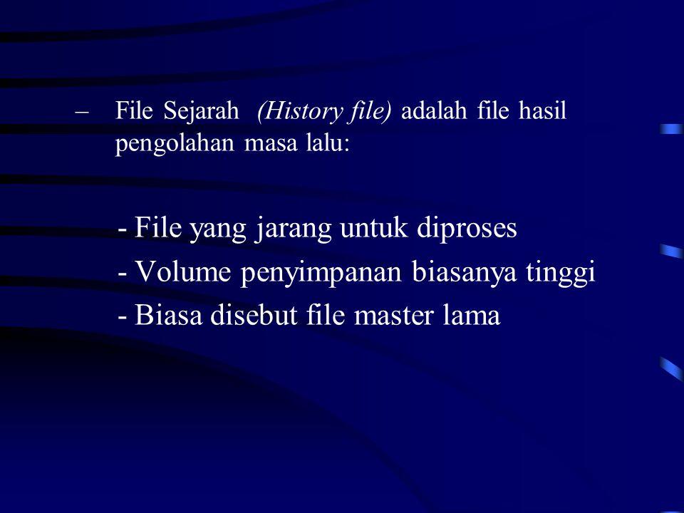 –File Sejarah (History file) adalah file hasil pengolahan masa lalu: - File yang jarang untuk diproses - Volume penyimpanan biasanya tinggi - Biasa disebut file master lama