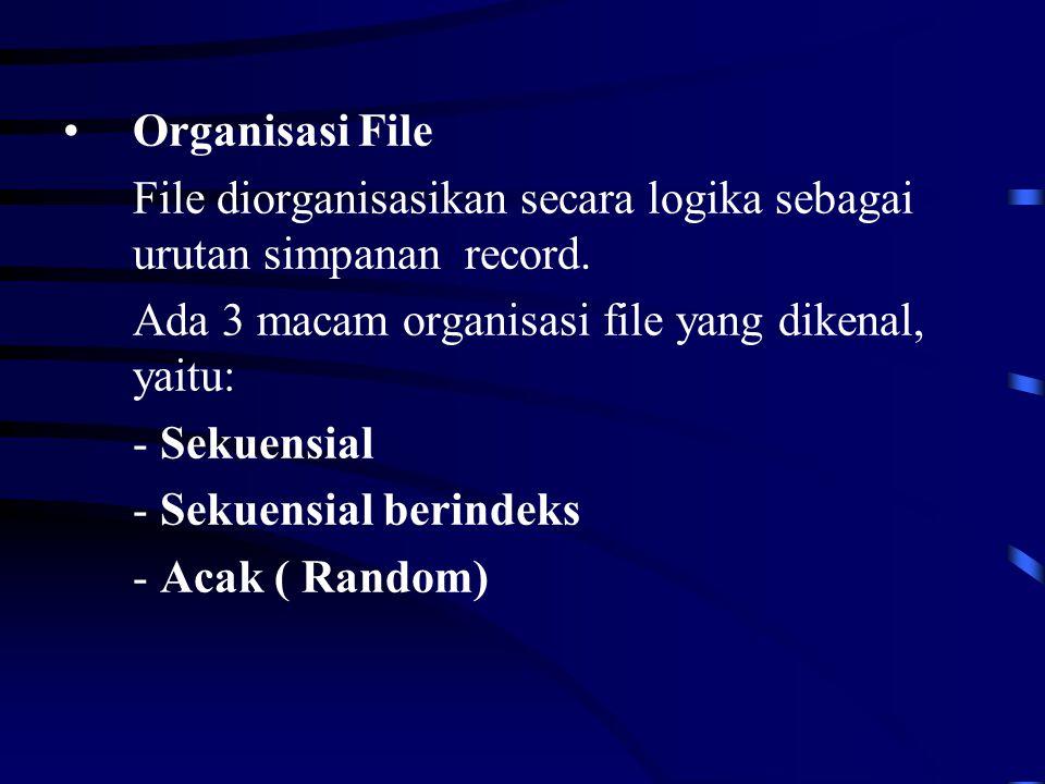 Organisasi File File diorganisasikan secara logika sebagai urutan simpanan record.