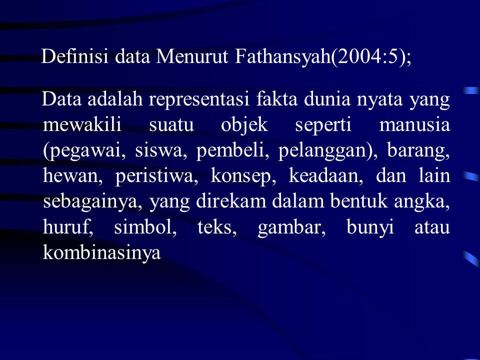 Definisi data Menurut Fathansyah(2004:5); Data adalah representasi fakta dunia nyata yang mewakili suatu objek seperti manusia (pegawai, siswa, pembeli, pelanggan), barang, hewan, peristiwa, konsep, keadaan, dan lain sebagainya, yang direkam dalam bentuk angka, huruf, simbol, teks, gambar, bunyi atau kombinasinya