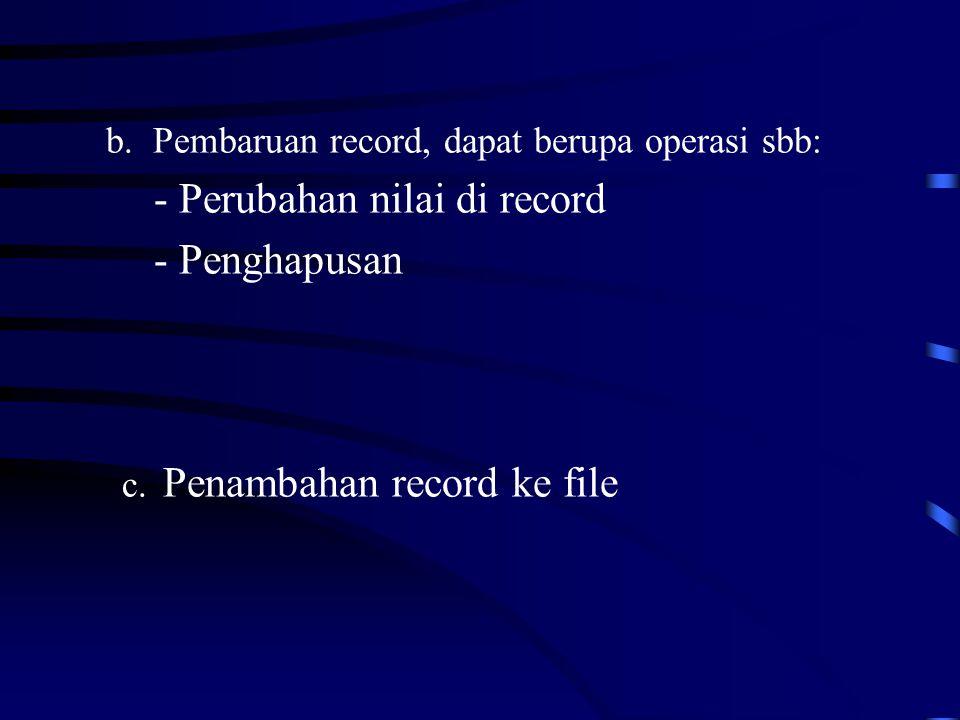 b.Pembaruan record, dapat berupa operasi sbb: - Perubahan nilai di record - Penghapusan c.