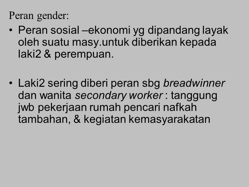 Peran gender: Peran sosial –ekonomi yg dipandang layak oleh suatu masy.untuk diberikan kepada laki2 & perempuan. Laki2 sering diberi peran sbg breadwi